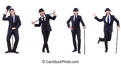 Man in vintage concept with walking stick