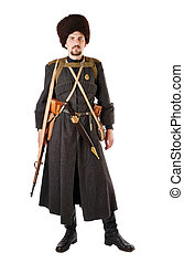 Man in vintage costume of Russian Cossack. The living...