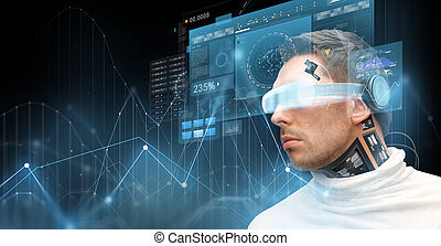 man in virtual reality glasses and microchip - augmented ...