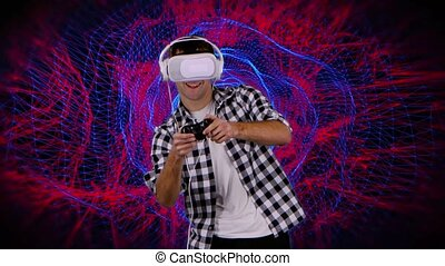 Man in virtual reality glasses plays on computer graphics background