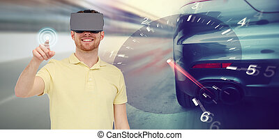 man in virtual reality headset and car racing game - 3d...