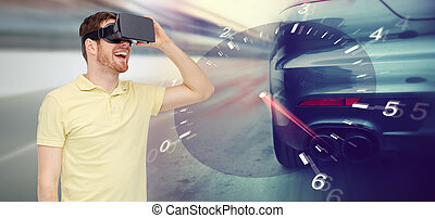 man in virtual reality headset and car racing game