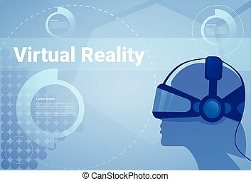 Man In Virtual Reality Headset Background With Copy Space Head Wearing Vr Goggles Modern Technology Concept