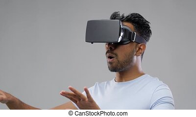 man in virtual reality headset or vr glasses - 3d...