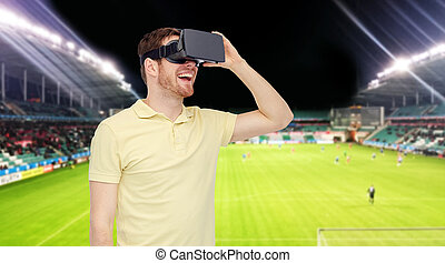 man in virtual reality headset over football field - 3d ...