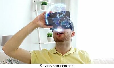 man in vr headset with earth projection at home - 3d...