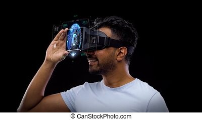 man in vr headset with virtual earth projection - 3d...