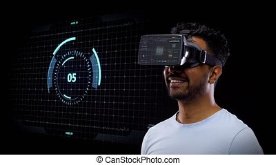 man in vr headset with virtual screen projection - 3d...