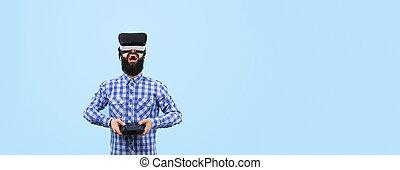 man in VR panoramic mockup