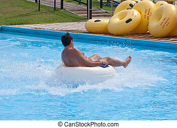 Man in water park