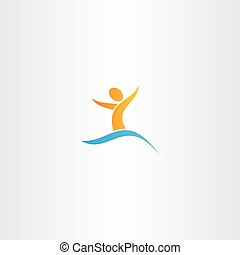 man in water swim logo sign vector letter y