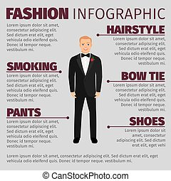 Man in wedding suit fashion infographic