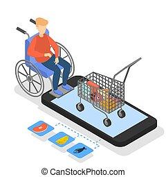 Man in wheelchair buying food in online store.