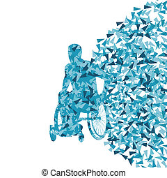 Man in wheelchair, disabled person vector abstract background concept for poster