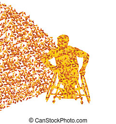 Man in wheelchair, disabled person vector abstract background concept made of triangular fragments explosion for poster