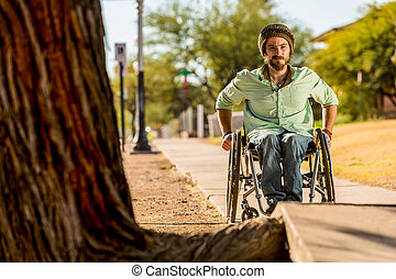 Man in Wheelchair Faces Sidewalk Obstacle