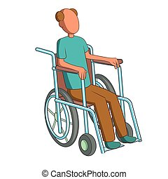 Man in wheelchair icon, cartoon style