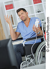 Man in wheelchair making a nonchalant gesture