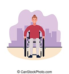 man in wheelchair perfectly imperfect character vector illustration design