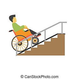 Man in wheelchair riding on stairs vector picture. Disabled...
