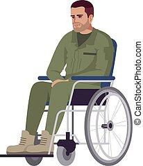 Man in wheelchair semi flat RGB color vector illustration. ...