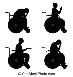 man in wheelchairs vector silhouette