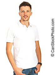 Man in white blank t-shirt