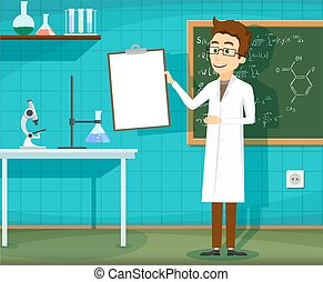Man in white lab coat standing with clipboard in hand. ...