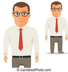 Man in White shirt with red tie Cartoon Character. Vector