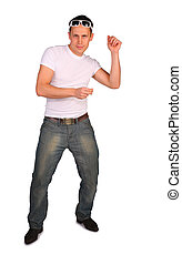 man in white t-shirt dances