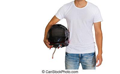 Man in white t-shirt holding a helmet