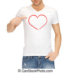 man in white t-shirt with heart