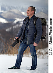 Man in winter landscape