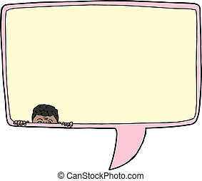 Man in Word Bubble - Man in word bubble over isolated...