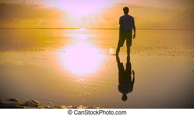 Man in worship pose on beach reaching out towards the sun walking away