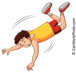 Man in yellow shirt falling down