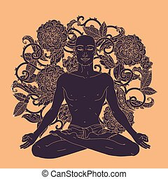 Man in Yoga lotus position for meditation. For the logo yoga studio, postcards. In colourful mandala style at tree shape Floral ornament
