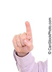 Man index finger isolated on white background