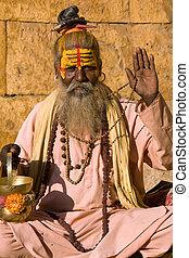 man), indien, sadhu, (holy
