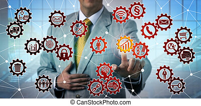 Man Initiating Growth Icon In Virtual Gear Train
