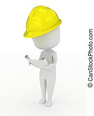 Man Inspecting a Blueprint - 3D Illustration of a Man...