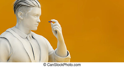 Man Inspecting Pill