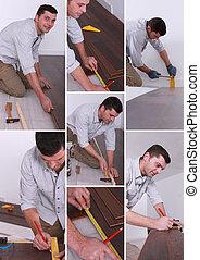 man, installeren, hard-wood, bevloering