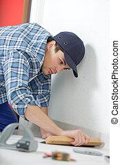 man, installeren, nieuw, laminaat, hout, bevloering, abstract