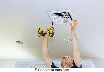 man, installeren, van, hvac, heizung, ventilating, en, verkoeling, na, ter vervanging, de, lucht, filter.