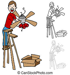 Man Installing a Ceiling Fan - An image of a man on a ladder...