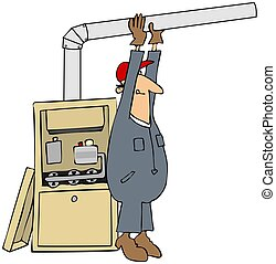 Man Installing A Furnace - This illustration depicts a man...