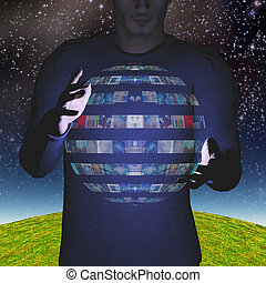 Man intereacts with video sphere display