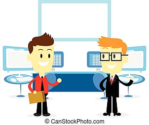 Man Introducing Office Studio to a New Employee (in Flat Cartoon Style)