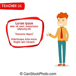 Man introducing with text box, Young man in formal clothes presenting with text box, Male teacher teaching with modern text box, Male guide character introduced, Stylized teacher character